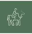 Horse riding icon drawn in chalk vector image