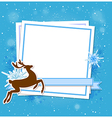Blue Christmas background with deer vector image vector image