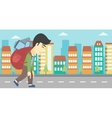 Man with backpack full of electronic devices vector image