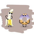 Doodle banana undress peel in front of a donut vector image