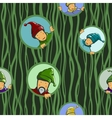 Gnomes in circles seamless pattern vector image