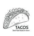 hand drawn tacos icon vector image