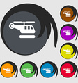 helicopter icon sign Symbol on eight colored vector image