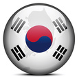 Map on flag button of Republic of Korea South vector image