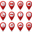 Map pointers with travel icons vector image
