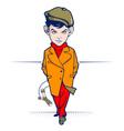 young cartoon hooligan character vector image