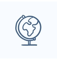 World globe on stand sketch icon vector image vector image