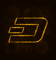 dash coin digital currency silhouette of lights vector image