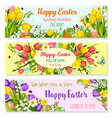 easter spring holiday greeting banners set vector image