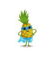 flat cartoon smiling superhero pineapple standing vector image