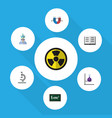 flat icon science set of attractive force theory vector image