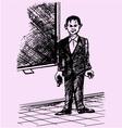 male teacher standing blackboard school vector image