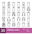 women clothes icons - tops t-shirts blouses vector image