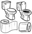 Doodle toilet paper vector image