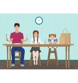 Kids waiting for dinner in the kitchen Holding a vector image
