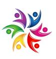 Swooshes figures help teamwork logo vector image