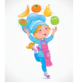 Baby cook juggles fruits vector image