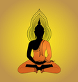 Buddha silhouette against gold background vector image