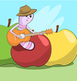 Cheerful worm crawled out of the apple and plays vector image