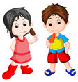 cute boy and girl eating ice cream vector image