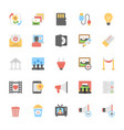 multimedia flat colored icons 10 vector image