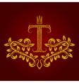 Patterned golden letter T monogram in vintage vector image