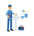 proffesional plumber character with monkey wrench vector image