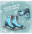Skate and knitted wool mittens poster vector image