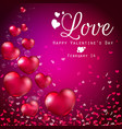 transparent red heart balloons on purple backgroun vector image