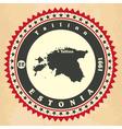 Vintage label-sticker cards of Estonia vector image