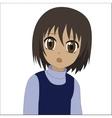 Cute cartoon anime little girl vector image