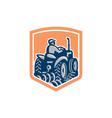 Farmer Driving Tractor Plowing Rear Shield Retro vector image vector image