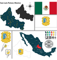 Map of San Luis Potosi vector image