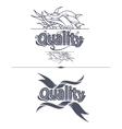 Quality label with ribbons vector image