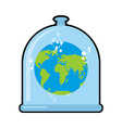 Earth in Glass bell Conservation and protection of vector image