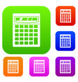 electronic calculator set color collection vector image