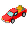 red van pick-up truck with pumpkins isolated vector image
