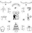 Set of wedding party doodle vector image