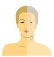 Woman face before and after aging Young woman and vector image
