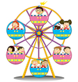 Happy children riding the ferris wheel vector image vector image