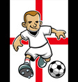 england soccer player with flag background vector image vector image