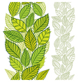 Seamless pattern with spring leaves vertical vector image vector image