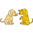 cartoon illustration of two cute dogs vector image vector image