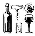 Bottle glass corkscrew cork Side and top view vector image