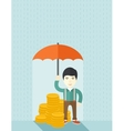 Chinese businessman with umbrella as protection vector image