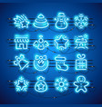 christmas neon icons blue vector image