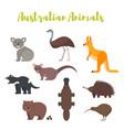 Flat style set of australian animals vector image
