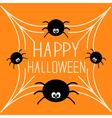 Four cartoon spider on the web Halloween card vector image