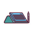 graphic drawing tablet with stylus icon vector image