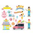 Ice Cream Shop Graphic Elements vector image